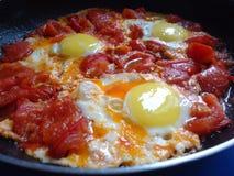 Uova rimescolate con i pomodori Fotografie Stock Libere da Diritti
