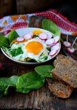 Uova rimescolate con spinaci ed il ravanello Fotografie Stock Libere da Diritti