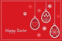 Uova rosse di Pasqua nel telaio felice di pasqua Fotografie Stock Libere da Diritti