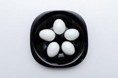 Uova sode sul piatto Fotografia Stock Libera da Diritti