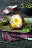 Uova sodo/carne per salsiccia con le erbe sulla ciotola verde Immagine Stock