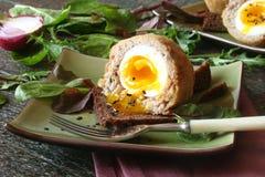 Uova sodo/carne per salsiccia con le erbe sulla ciotola verde Immagini Stock Libere da Diritti