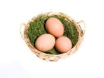 Uova su fieno in cestino di vimini Immagini Stock