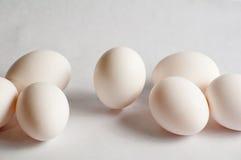 Uova su priorità bassa bianca Immagine Stock