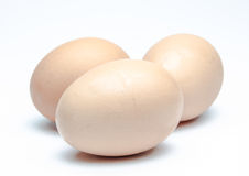 Uova su un fondo bianco Immagini Stock