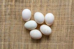 Uova sulla stuoia del canestro Fotografia Stock
