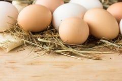 Uova in un canestro Vista superiore delle uova in ciotola Uova di Brown in ciotola di legno Uovo del pollo Canestro delle uova di Fotografia Stock Libera da Diritti