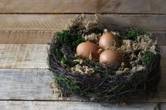 Uova in un nido su un supporto di legno stilizzato Immagine Stock Libera da Diritti