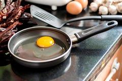 Uova in una vaschetta di frittura Fotografia Stock
