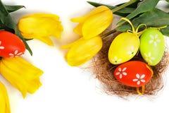 Uova variopinte di Pasqua con i tulipani gialli Immagini Stock Libere da Diritti