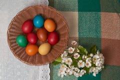 Uova variopinte di quaglia e del pollo sul plaid bianco e verde Pasqua felice Fotografia Stock