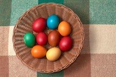 Uova variopinte di quaglia e del pollo sul plaid verde Pasqua felice Immagini Stock