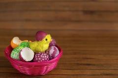 Uova variopinte e pulcino di Pasqua che covano dalle coperture Immagine Stock