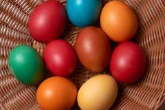 Uova variopinte Pasqua felice di quaglia e del pollo Fotografia Stock