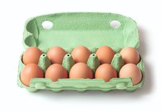 Uova in vassoio fotografie stock