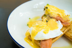 Uovo alla benedict con il salmone affumicato e la salsa olandese fresca Fotografia Stock Libera da Diritti