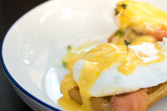 Uovo alla benedict con il salmone affumicato e la salsa olandese fresca Immagine Stock Libera da Diritti