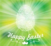 Uovo bianco di Pasqua su un fondo verde Fotografie Stock