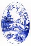 Uovo blu e bianco Immagini Stock