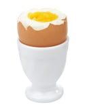 Uovo bollito in portauovo isolato Fotografia Stock Libera da Diritti