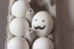 Uovo con i baffi e gli occhi Fotografia Stock Libera da Diritti