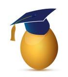 Uovo con una progettazione dell'illustrazione del cappello di graduazione Fotografia Stock Libera da Diritti