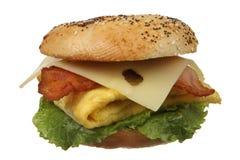 Uovo del bagel e panino del bacon Fotografia Stock Libera da Diritti