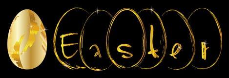 Uovo del fondo di Pasqua in oro Immagine Stock Libera da Diritti