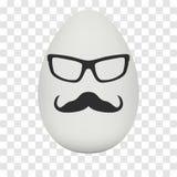 Uovo del pollo con la maschera dei pantaloni a vita bassa Vettore illustrazione di stock