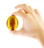 Uovo dell'oro con il segno del dollaro a disposizione isolato Immagine Stock Libera da Diritti