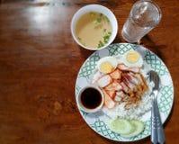 Uovo della carne di maiale con riso Fotografia Stock