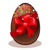Uovo di cioccolato felice del regalo di Pasqua Immagine Stock
