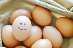 Uovo di gallina marrone sorridente nella borsa del tessuto Fotografia Stock