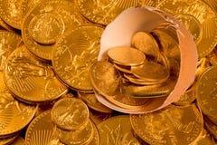 Uovo di nido con le monete di oro fini Fotografie Stock