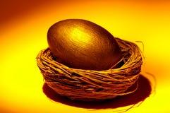 Uovo di nido dorato Fotografie Stock Libere da Diritti