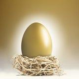 Uovo di nido dorato gigante Fotografie Stock