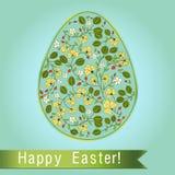 Uovo di Pasqua con l'uva spina, cartolina d'auguri blu del turchese Immagini Stock Libere da Diritti