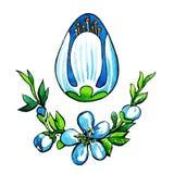 Uovo di Pasqua con un ramo dei fiori Immagine Stock Libera da Diritti
