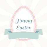 Uovo di Pasqua da carta con il nastro Cartolina d'auguri dell'annata Fotografia Stock
