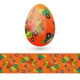 Uovo di Pasqua decorato con il modello floreale d'annata ed il modello senza cuciture con le rose Fotografie Stock Libere da Diritti
