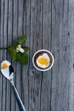 Uovo di Pasqua del cioccolato accanto al cucchiaio con tuorlo Fotografie Stock