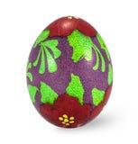 Uovo di Pasqua dipinto a mano isolato nel fondo bianco con il clippi Immagini Stock Libere da Diritti