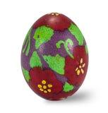 Uovo di Pasqua dipinto a mano isolato nel fondo bianco con il clippi Fotografia Stock
