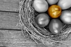Uovo di Pasqua dorato in nido Immagine Stock