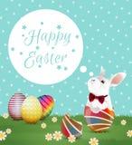 Uovo di Pasqua e coniglietto sul pois Fotografia Stock