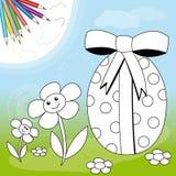 Uovo di Pasqua e fiori Fotografie Stock Libere da Diritti