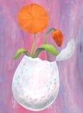 Uovo di Pasqua e fiori 2017 Fotografie Stock