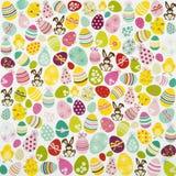 Uovo di Pasqua E fondo del coniglietto Fotografia Stock