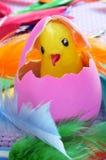 Uovo di Pasqua e pulcino Fotografia Stock