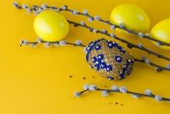 Uovo di Pasqua e pussy-salice del branello Immagine Stock